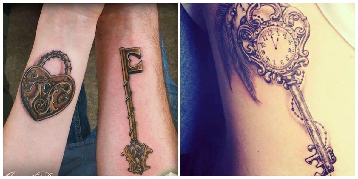 Tatuaje llave- pueden ir acompanados por otras imagenes mas