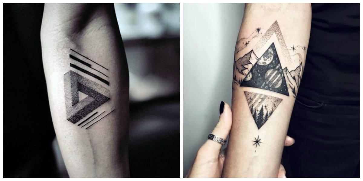 Tatuaje triangulo- formas triangulares acompanados por otras imagenes