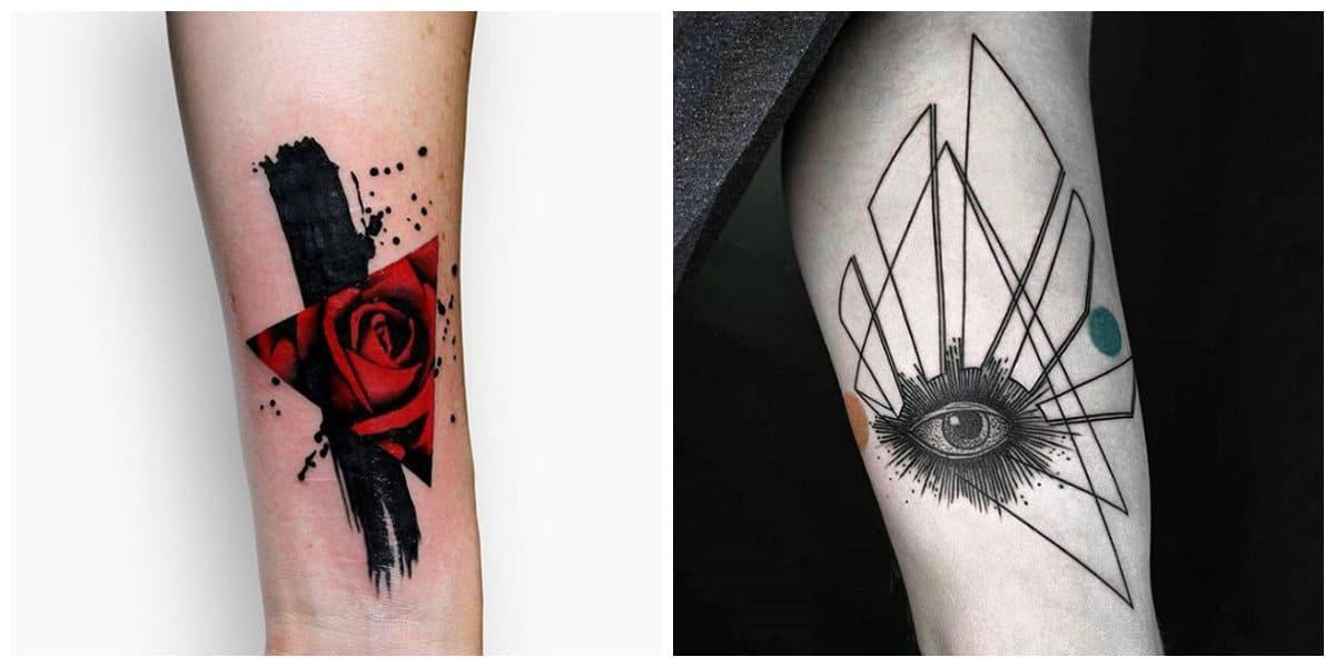 Tatuaje triangulo- triangulos acompanados por corazon y ojos
