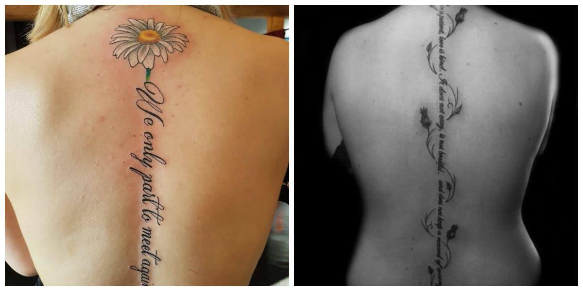 Tatuajes columna vertebral mujer- inscripciones perfectas de moda