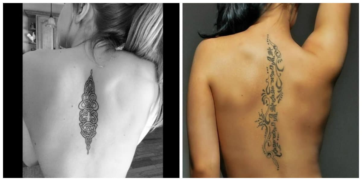 Tatuajes columna vertebral mujer- es un lugar ocultado simplemente
