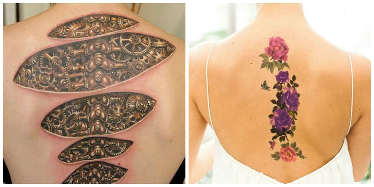 Tatuajes columna vertebral mujer- imagenes interesantes con simbolismo