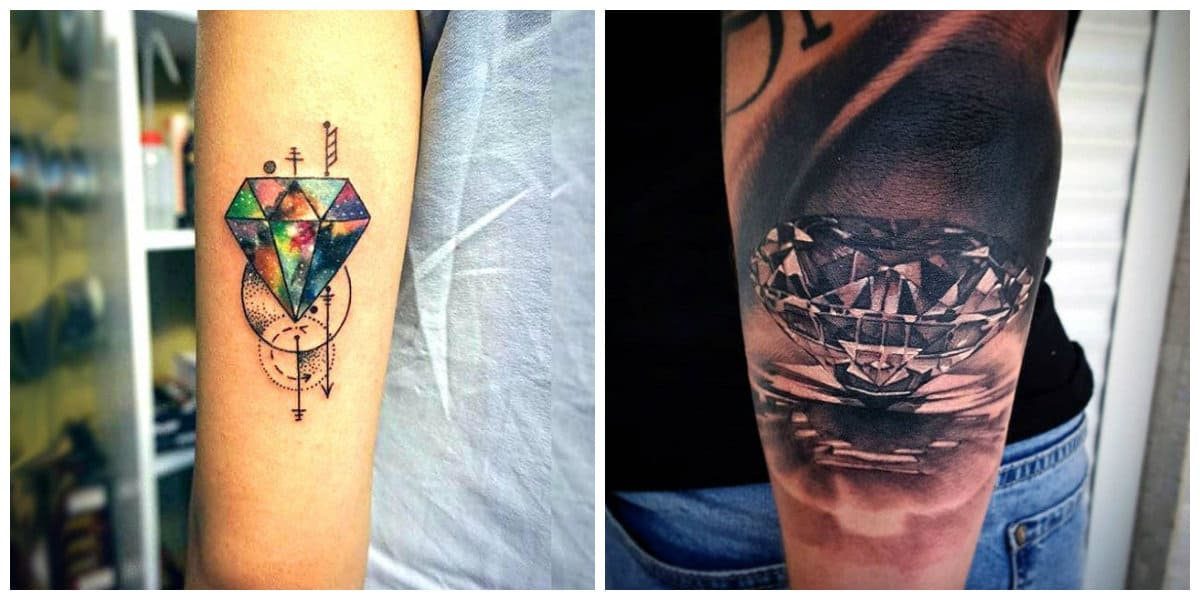 Tatuajes de diamantes- diferentes esquemas modelos de tatuajes
