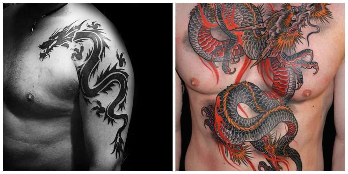 Tatuajes de dragones- en color rojo y negro que tienen simbologia