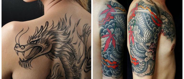 Tatuajes de dragones- la parte suberior de la espalda y columna vertebral