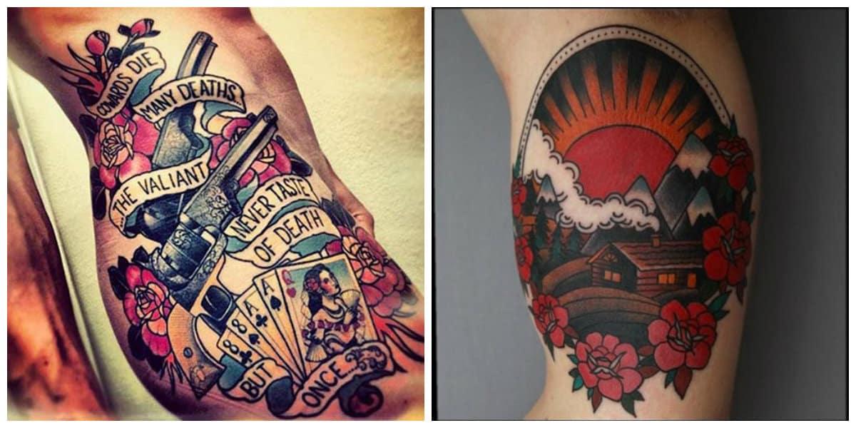 Tatuajes de la vieja escuela- imagenes en colores modernas
