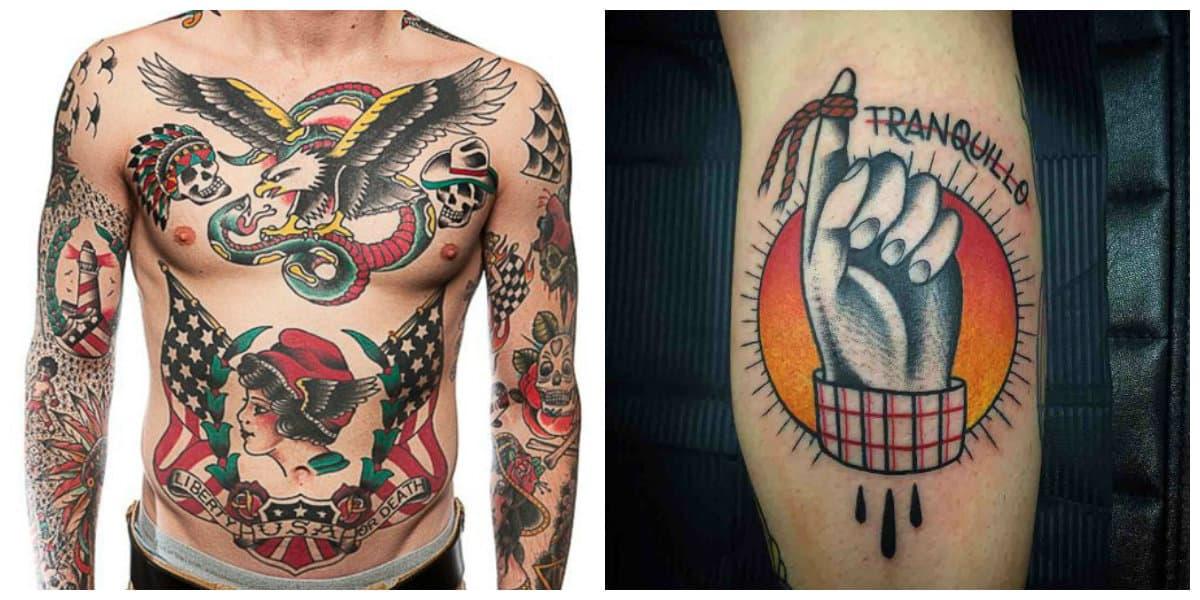 Tatuajes de la vieja escuela- imagenes por todo el cuerpo o en parte