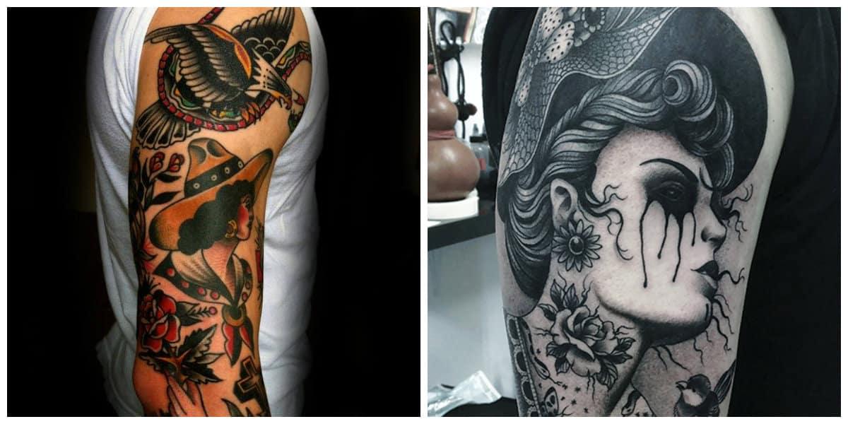 Tatuajes de la vieja escuela- tatuajes en colores o solo negros