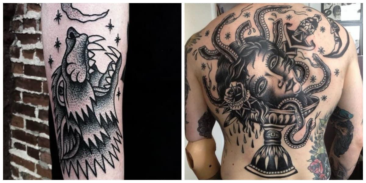 Tatuajes de la vieja escuela- ideas de grandes tatauajes masculinos