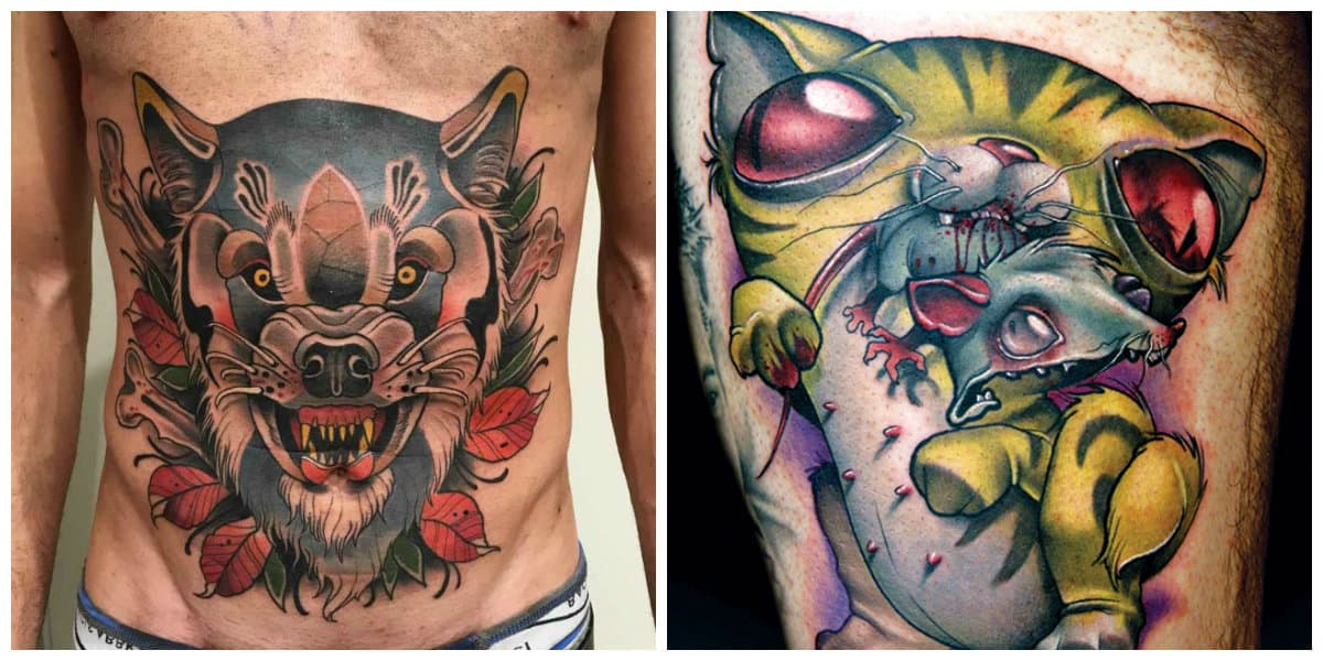 Tatuajes de la vieja escuela- animales en coloracion moderna