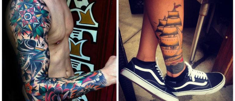 Tatuajes de la vieja escuela- en diferentes partes del cuerpo del hombre