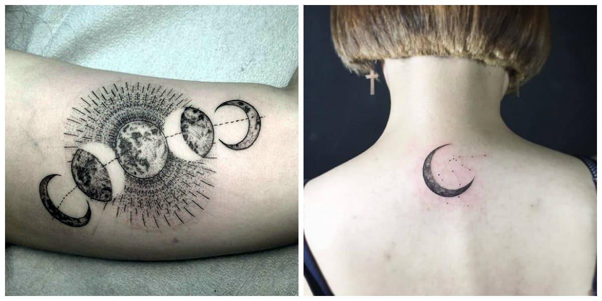 Tatuajes de lunas- uan serie de cuerpos de astronomia en un lugar