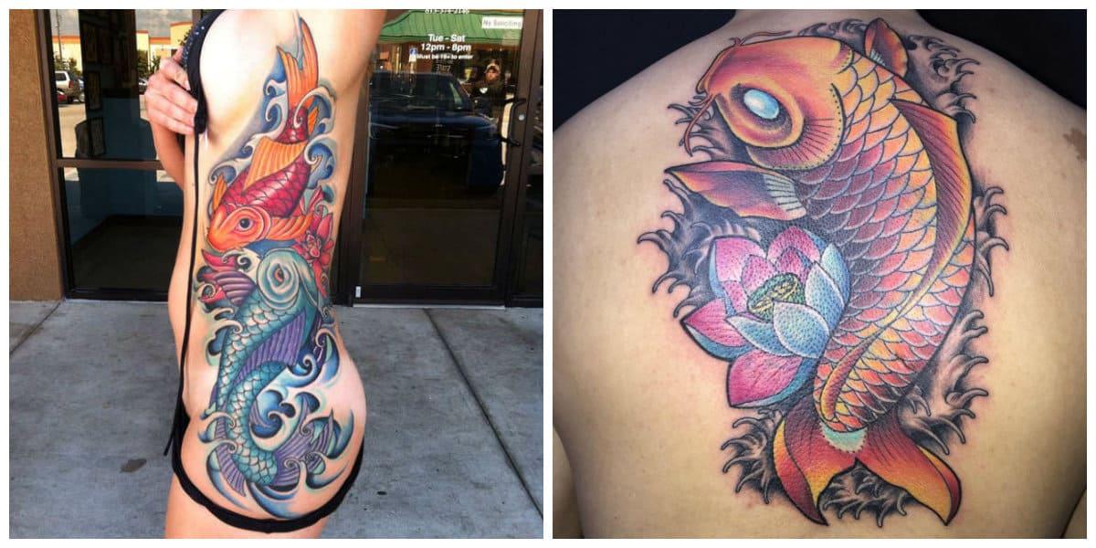 Tatuajes de pez koi- es popular entre hombre y mujeres modernas