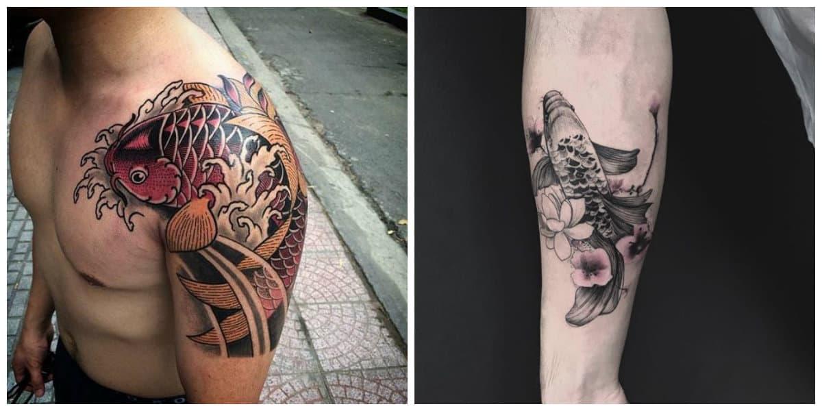 Tatuajes de pez koi- simbolizan una serie de nociones modernas