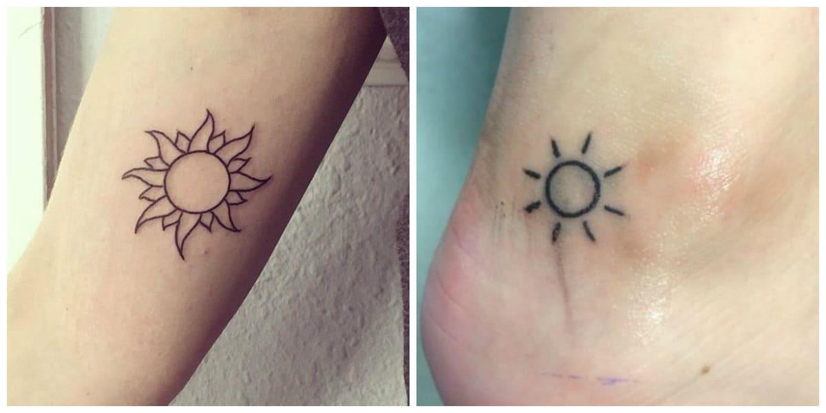 Tatuajes de sol- piernas y brazos son partes adecuados de tatuajes