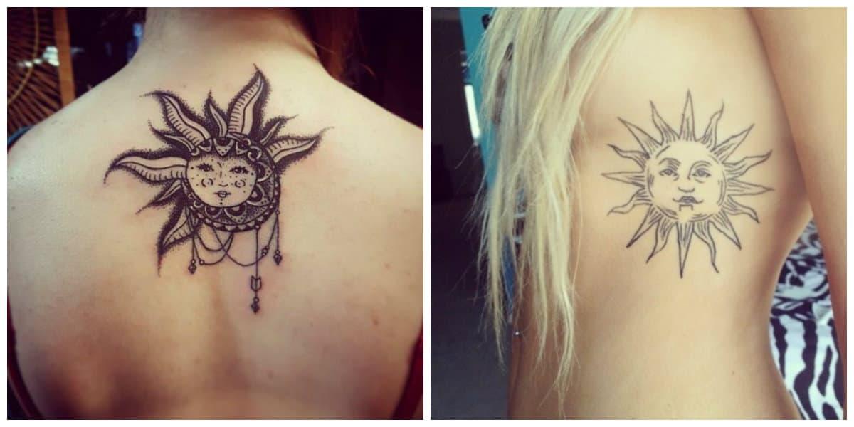 Tatuajes de sol- las chicas ponen los tatuajes sobre la espalda