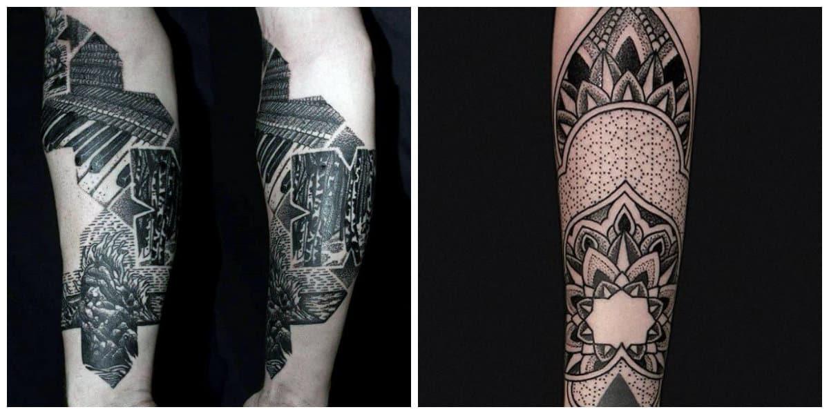 Tatuajes dotwork- brazo como parte principal para los tatuajes