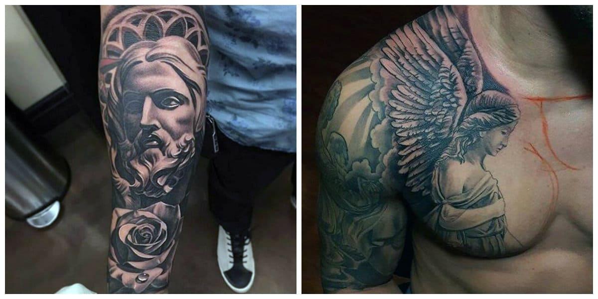 Tatuajes religiosos- imagenes del arcangel y Jesucristo