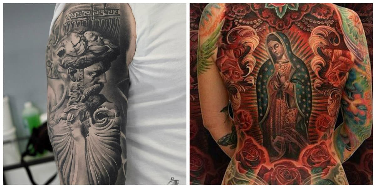 Tatuajes religiosos- encarnaciones de Jesucristo y de la virgen Maria
