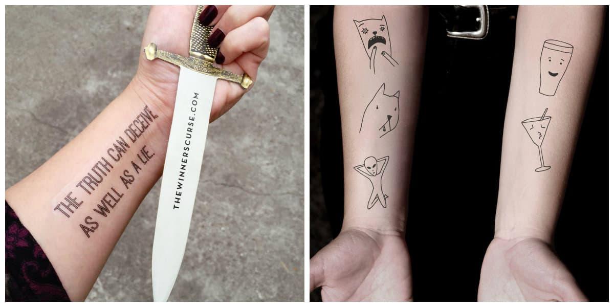 Tatuajes temporales- inscripciones y dibujos de animales de moda