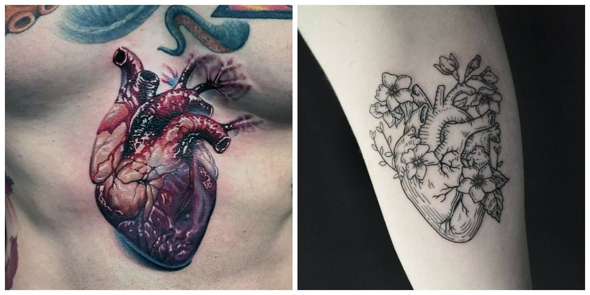 Corazones para tatuajes- tendencias modernas para corazones anatomicas