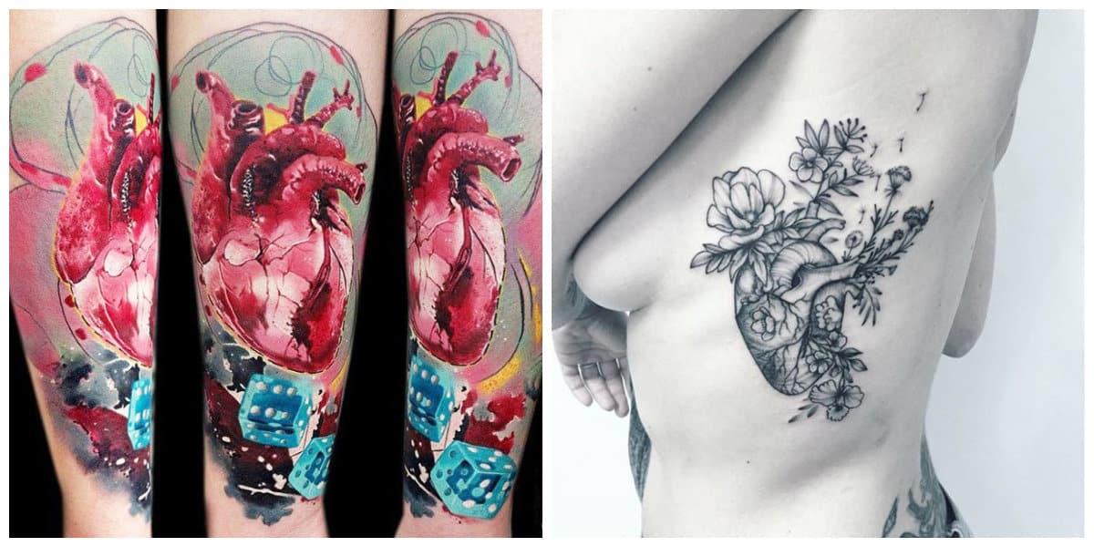 Corazones para tatuajes- se crea una imagen realistica mediante corazones anatomicas