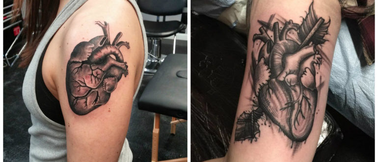 Corazones para tatuajes- algunas ideas modernas para tatuajes de corazones de moda