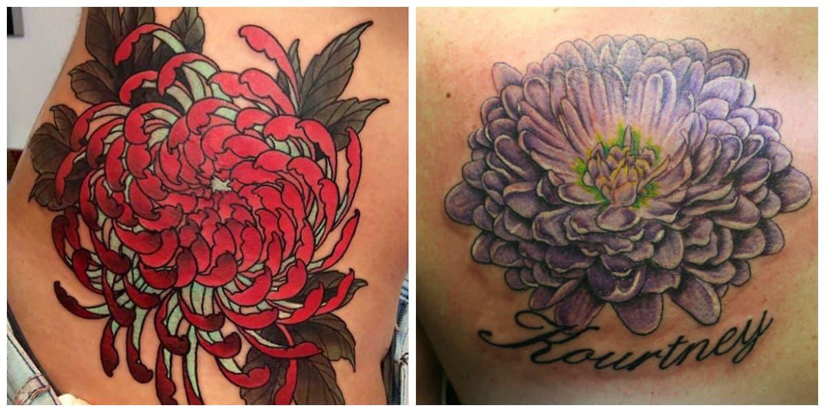 Crisantemo tatuaje- colores muy modernos para este tipo de flor
