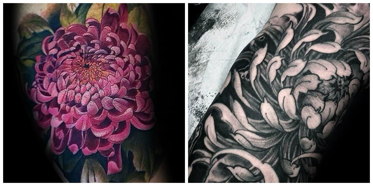 Crisantemo tatuaje- esta muy de moda entre hombres y mujeres