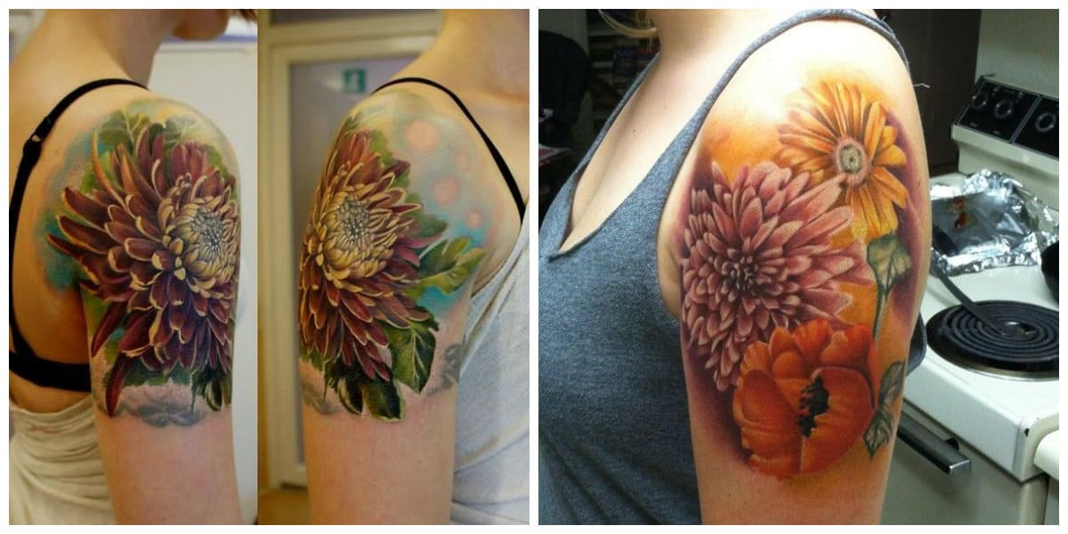 Crisantemo tatuaje- para europeos es signo de simpatia