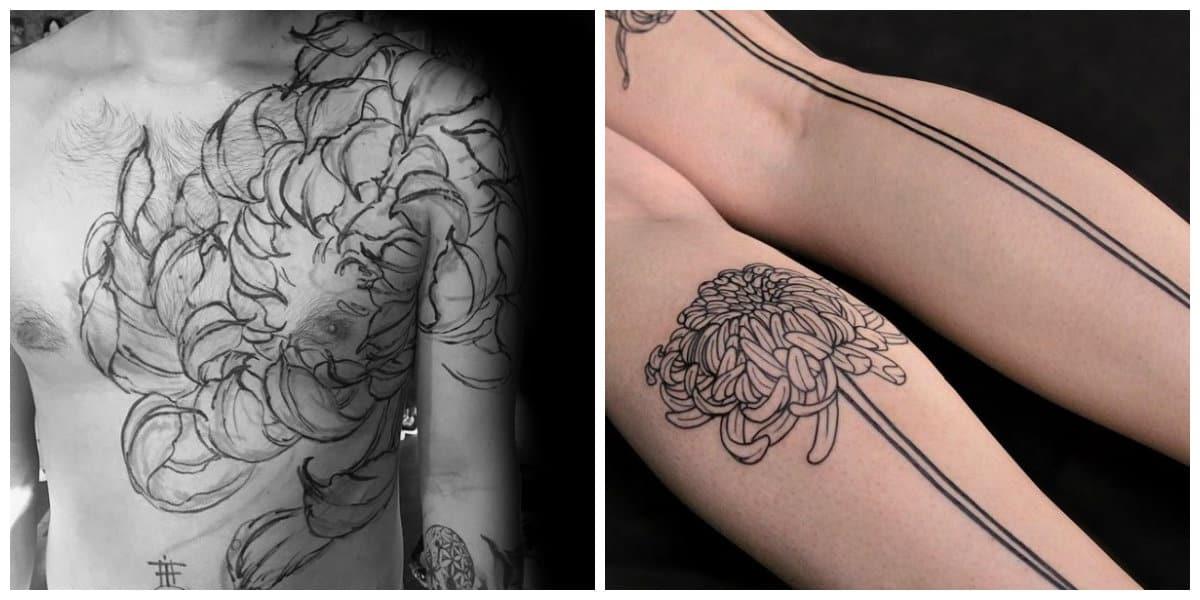 Crisantemo tatuaje- estilos minimalisticos para los mas modestos