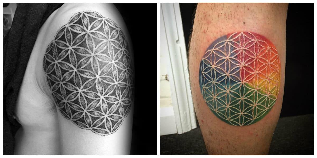 Flor de la vida tatuaje- tendencias principales y tradicionales de moda