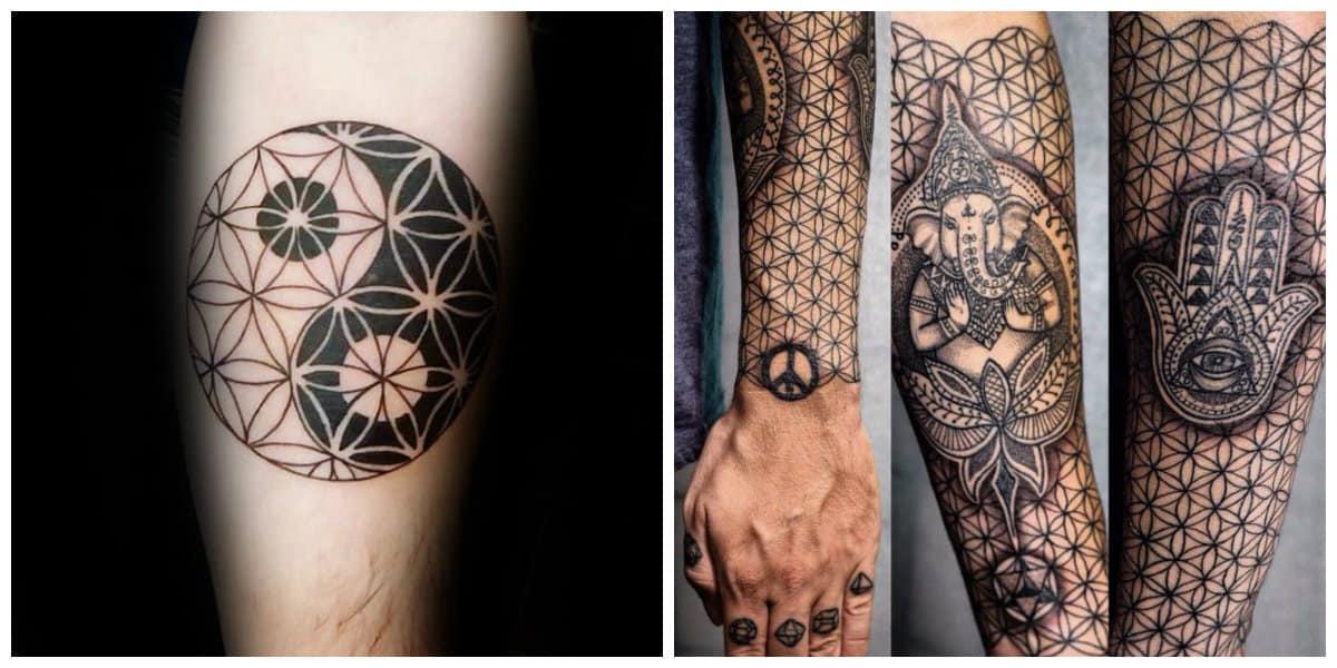 Flor de la vida tatuaje- perteneca a las culturas antiguas de india, turquia y egipcio