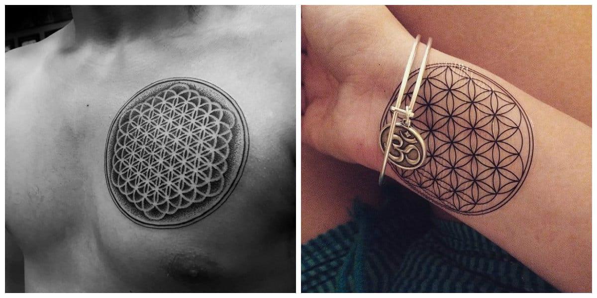 Flor de la vida tatuaje- se ve muy natural y muy bonito sobre el brazo