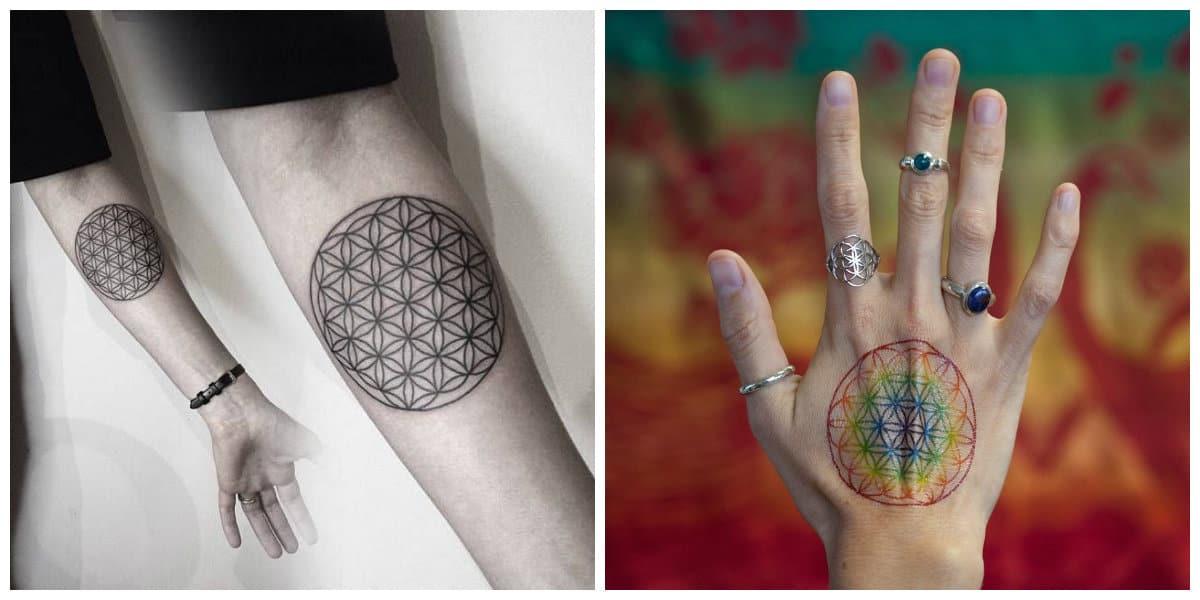 Flor de la vida tatuaje- simboliza harmonia y el origen del univeros