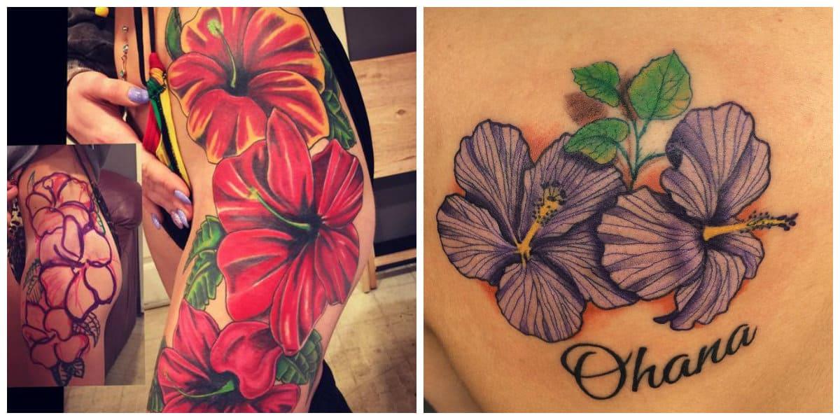 Tatuaje hibisco- muchas veces encontramos de colores rojo y violeta