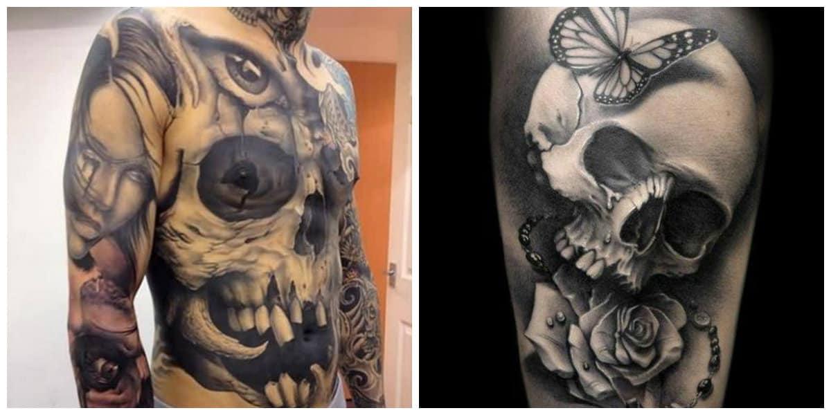 Tatuajes calaveras- imagenes combinadas en torno a las calaveras
