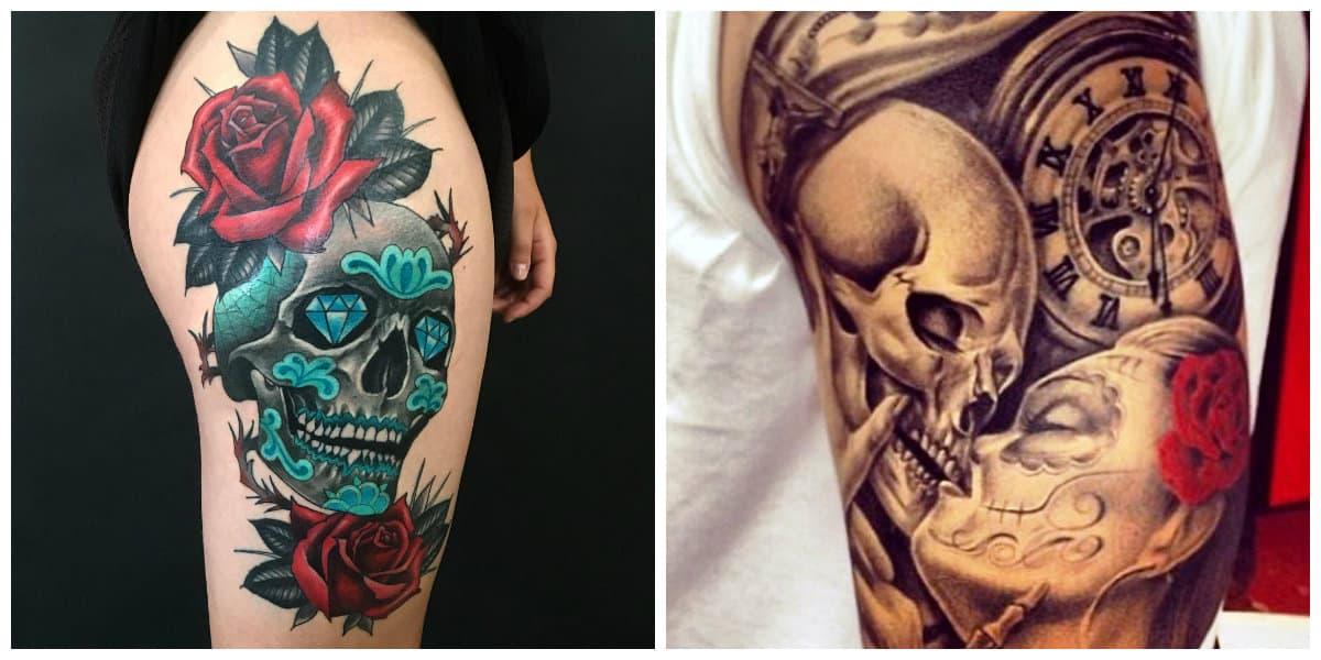 Tatuajes calaveras- suelen cavarlos sobre piernas y brazos