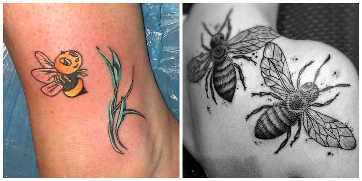 Tatuajes de abejas- pueden ser de diferentes tamanos y en diferentes partes del cuerpo
