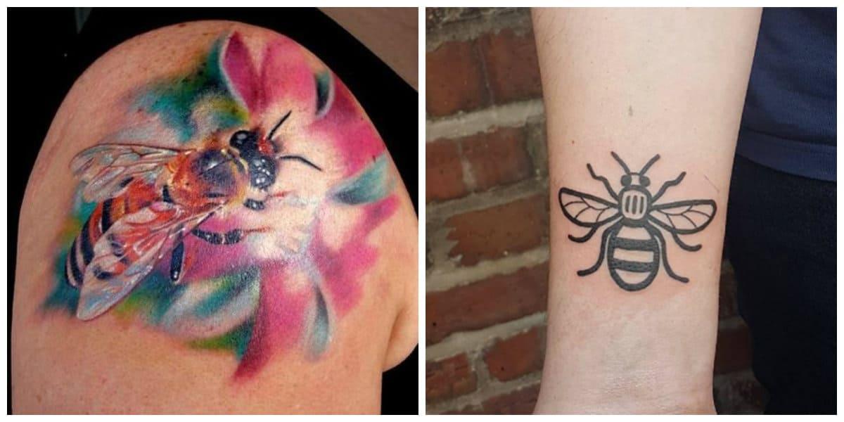 Tatuajes de abejas- hay colores de moda que se pueden aplicar a las imagenes
