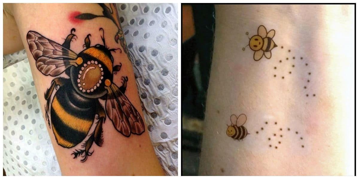 Tatuajes de abejas- estan muy divulgados los modelos mas pequenos