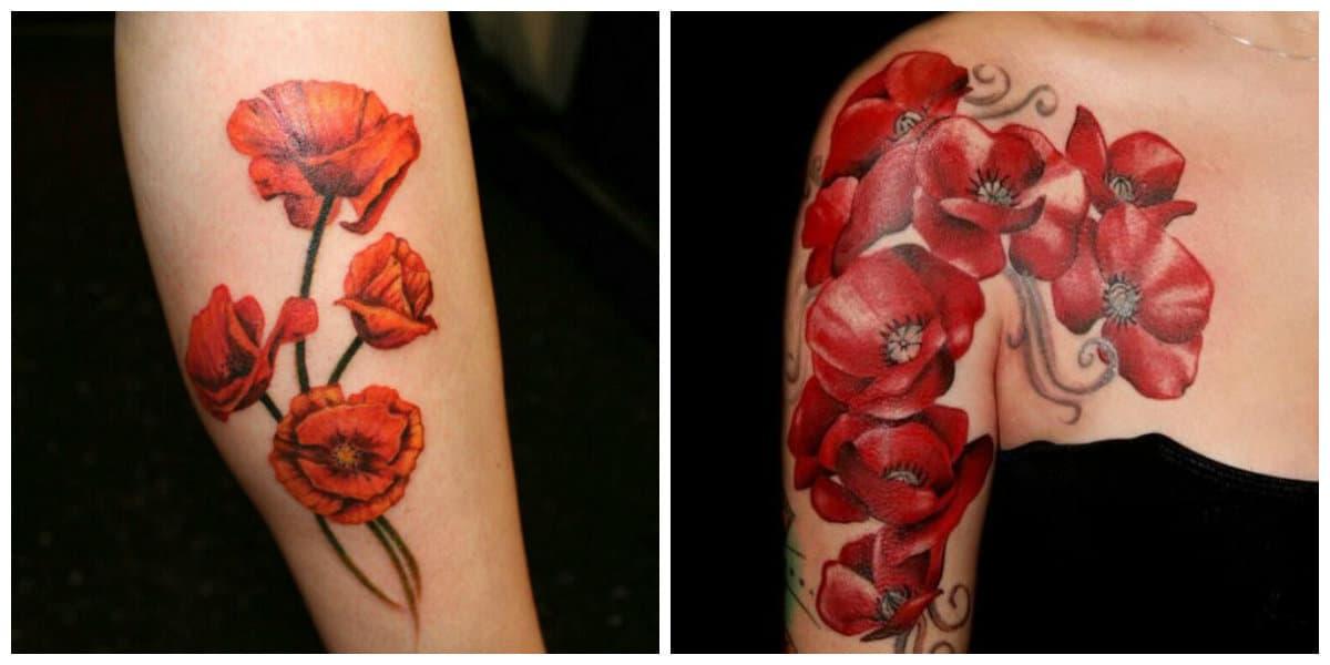 Tatuajes de amapolas- color prevaleciante rojo de moda