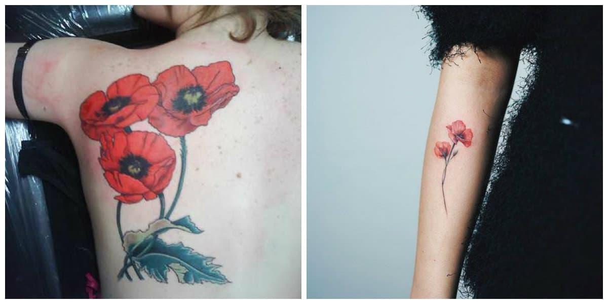 Tatuajes de amapolas- las mujeres lo ponen sobre el pecho y los brazos