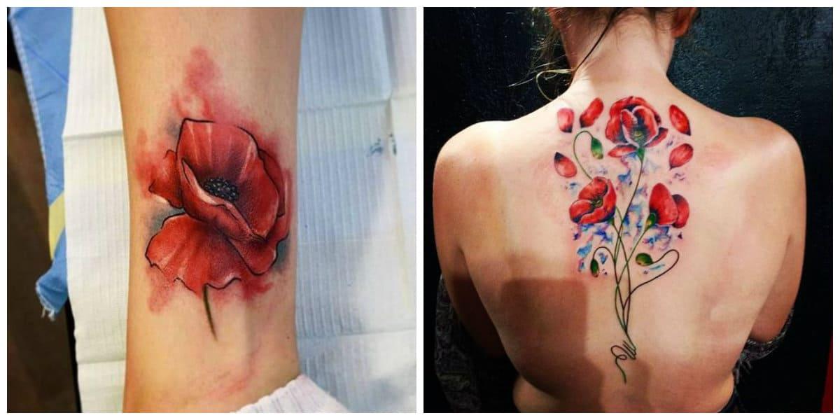 Tatuajes de amapolas- puede abarcar toda las espalda o parte de ella