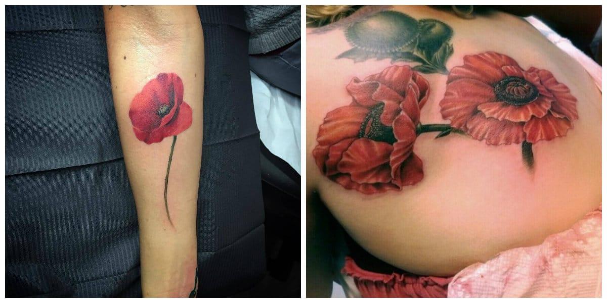 Tatuajes de amapolas- puede ser de diferentes tamanos que quiera la mujer