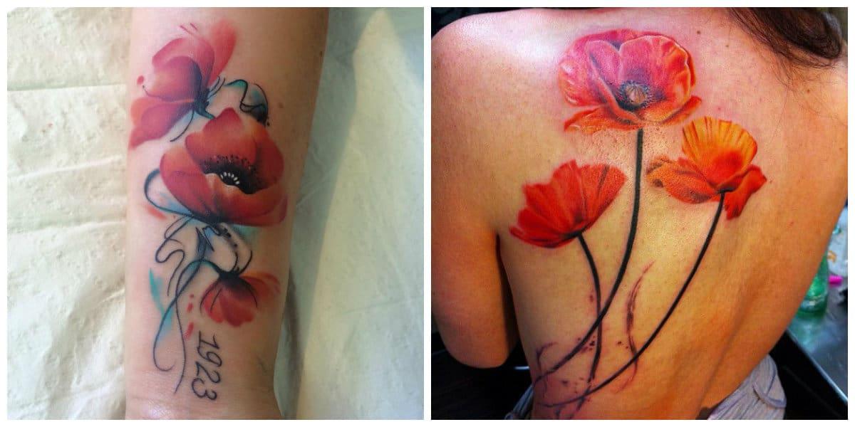 Tatuajes de amapolas- se combina con los colores rojo y negro, asi como azul