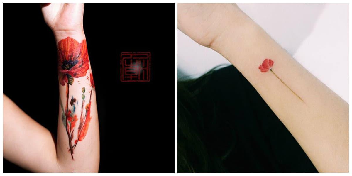 Tatuajes de amapolas- se ve muy perfectamente sobre los brazos