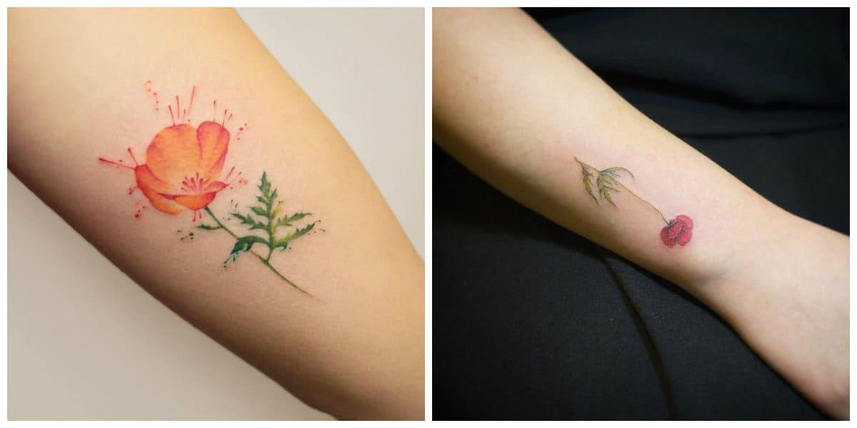 Tatuajes de amapolas- entra entre tatuajes femeninos pequenos de moda