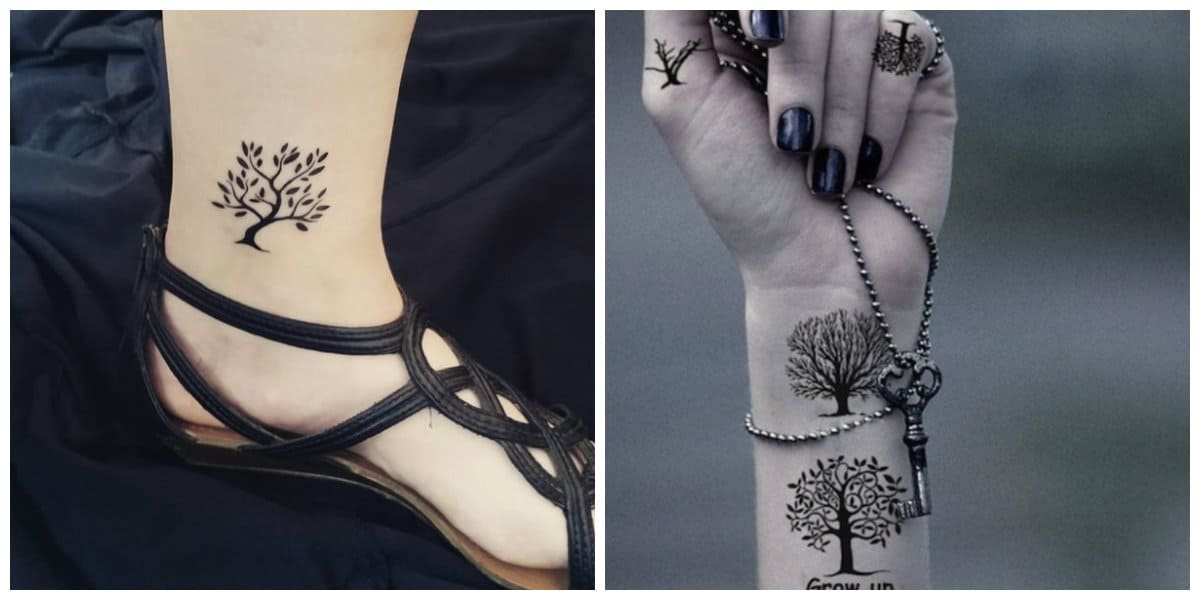 Tatuajes de arboles- las chicas lo cavan sobre piernas, tobillos y brazos