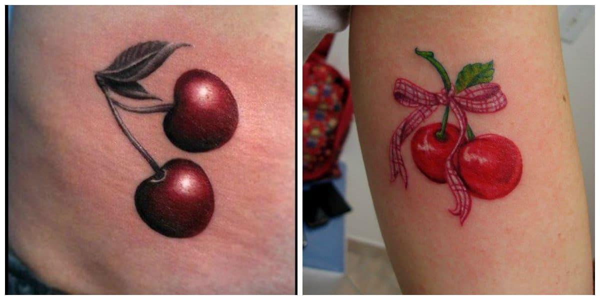 Tatuajes de cerezas- el color principal es el rojo simbolo de pasion